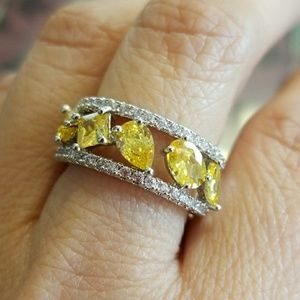 Jewelry - White Gold filled Champagne CZ Women Ring Jewelry